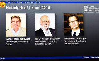2016年的诺贝尔化学奖由让 - 皮埃尔·索维奇(左)、J.弗雷泽·斯图达特爵士(中)和伯纳德•L•费林加(右)获得。(JONATHAN NACKSTRAND/AFP/Getty Images)
