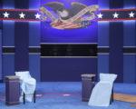周日美国大选第二场总统候选人电视辩论即将登场,第一场辩论略逊希拉里的川普,这是扳回一城的好机会。对上亿观众来说,这场辩论有几大看点。图为第二场辩论会场。(Chip Somodevilla/Getty Images)