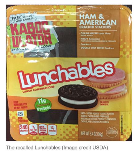 被召回的卡夫午餐包Lunchables。(USDA提供)