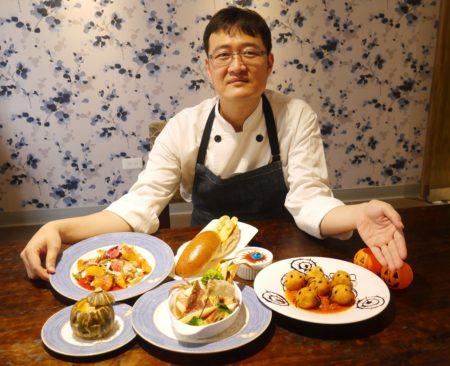 帕莎蒂娜主廚楊國誠精心設計的「鬼魅夜影-萬聖節雙人分享餐」,6道料理,滿足味蕾、驚豔視覺。(方金媛/大紀元)