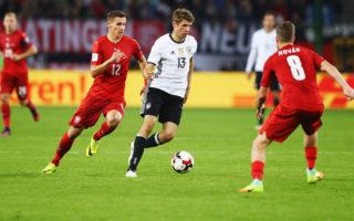世界盃「福星」托馬斯‧穆勒(13號)再次梅開二度,助德國隊兩連勝。(Martin Rose/Bongarts/Getty Images)