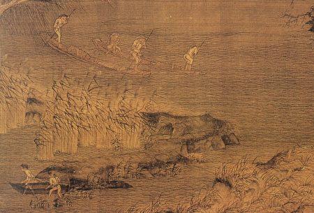 赵干作品《江行初雪图》局部。(公有领域)