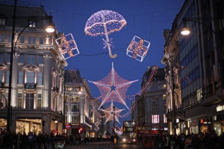 着名的伦敦牛津街(Oxford Street)圣诞点灯仪式,点亮街道上的装饰彩灯,准备迎接圣诞季的到来。(Dan Kitwood/Getty Images)