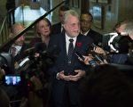 11月9日,魁北克省长菲利普·库雅在魁北克城的省议会祝贺川普当选新一任美国总统。(加通社)