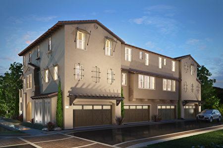 Van Daele Homes承建的聖馬利諾小區在Fremont中心地段,時尚的3層樓城鎮屋,價格從80萬高端起。(建築商提供)