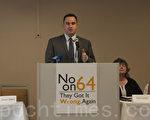 """""""善用大麻""""(Smart Approaches to Marijuana)主席凯文‧萨伯特(Kevin Sabet)博士表示,64号提案是为了利益,而对社会不负责任。(周凤临/大纪元)"""