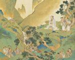 三皇时代的神农氏教人市集交易。图为神农氏像,出自 明 仇英《帝王道统万年图》册页。(公有领域)