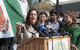 11月10日,奧克蘭市市長利比‧沙夫(Libby Schaaf)譴責趁示威之機打砸的行為。(周鳳臨/大紀元)