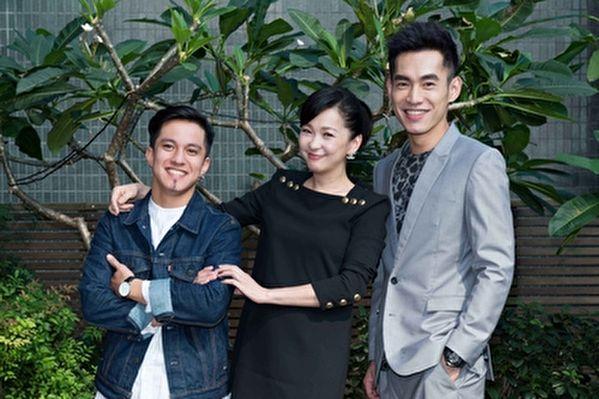 演员六月(中)与张书豪(右)、黄远(左)在新剧中饰三姊弟。(TVBS提供)