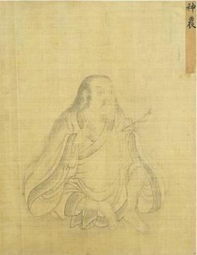 神农炎帝像,清故宫南薰殿旧藏历代圣君贤臣全身像册,纸本白描,今藏台北故宫博物院。(公有领域)