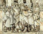 小漢斯‧霍爾拜因在1512年所畫的素描,描繪沙普爾羞辱瓦勒良,現藏於巴塞爾美術館。(維基百科公有領域)