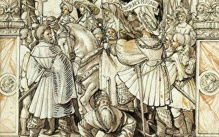 小汉斯‧霍尔拜因在1512年所画的素描,描绘沙普尔羞辱瓦勒良,现藏于巴塞尔美术馆。(维基百科公有领域)