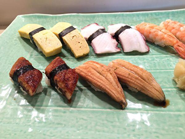 上附蛋卷、章鱼、虾子、鳗鱼的握寿司。(Shimizu寿司酒吧提供 )