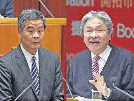 梁振英(左)仍未表态竞逐连任,练乙铮认为可能反映中央已不信任他。他也说曾俊华(右)任特首的机会也不是很大。(大纪元资料图片)