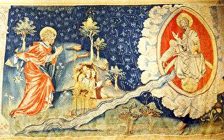 图为昂热城堡的《启示录》挂毯中描述的:一道生命水的河,明亮如水晶,从神的宝座流出来。在河的两边有生命树,生产十二样果子,每月结新果,树上的叶子医治万民。不再有黑夜,因神来做光照。神所救赎的人要做王,直到永永远远。(公共领域)