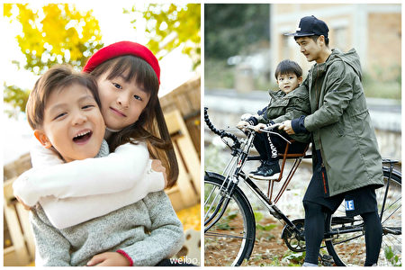 左图为田亮的一对儿女,右图为田亮带儿子参加《爸爸去哪儿》第四季节目。(微博图片/大纪元合成)
