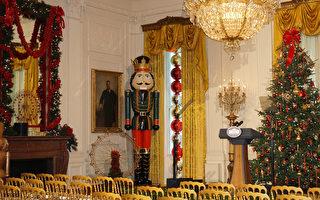 白宫展示圣诞装饰 第一夫人招待军人家庭