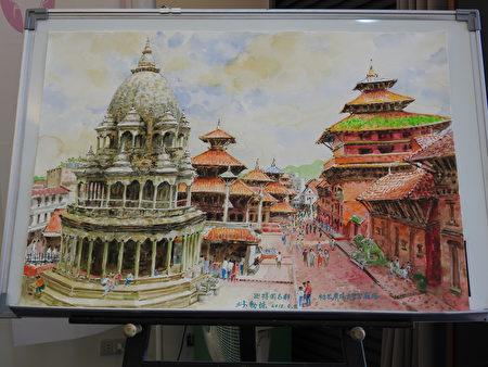 林勋谅老师在美学讲座上,叙说他画尼泊尔《杜巴广场古皇宫庙塔》的故事。(蔡上海/大纪元)