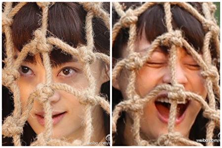 孙俪被被绳子套住的表情包:一个露出微笑,另一个则作大吼状。(微博图片/大纪元合成)