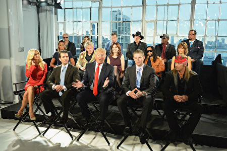 "NEW YORK, NY - OCTOBER 12: Donald Trump (C), his sons Eric F. Trump, Donald Trump Jr. and Season 13 contestants attend the ""Celebrity Apprentice All Stars"" Season 13 Press Conference at Jack Studios on October 12, 2012 in New York City. (Photo by Slaven Vlasic/Getty Images)"