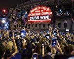 芝加哥当地球迷为小熊队拿下冠军,兴奋不已。(TASOS KATOPODIS/AFP/Getty Images)