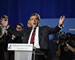 2016年11月22日,菲勇在法國西南部Chassieu市的競選集會上演講。 (JEAN-PHILIPPE KSIAZEK/AFP/Getty Images)