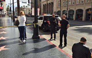 周一(11月28日)上午,好莱坞中国戏院前惊传有爆裂物,现场封锁了约二个半小时。(目击者Lulu提供)