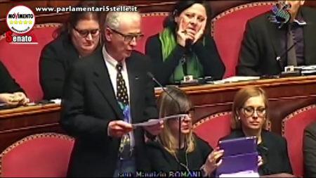 意大利参议院员罗曼尼在参议院发言。(意大利参议院网站)