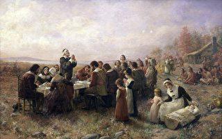 油畫《普利茅斯第一次感恩節》(Jennie A. Brownscombe,1914)(維基公共領域)