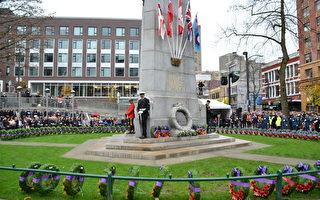 图:11月11 日,温哥华胜利广场纪念碑国殇日活动现场。(摄影:陈怡然/大纪元)