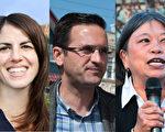 新当选的市议员左起:卢凯莉、安世辉和李丽嫦。(大纪元资料图)