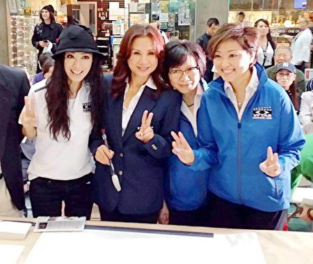 圖:香港資深實力派影視紅星米雪(左一)9月到溫哥華度假,剛巧碰上「明星愛丹青」愛心籌款活動,她不顧長途旅行的勞頓,立即參與。(圖片由周秀蘭提供)