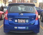 黃芝音男友的藍色尼桑車,器材就是從這輛車內被盜走。(黃芝音提供)