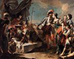 Giovanni Battista Tiepolo 繪《芝諾比亞女王在奧勒良皇帝面前》(公有領域)
