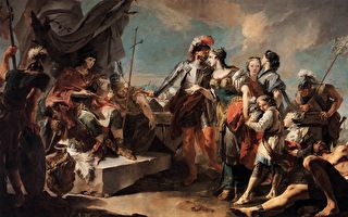 Giovanni Battista Tiepolo 绘《芝诺比亚女王在奥勒良皇帝面前》(公有领域)