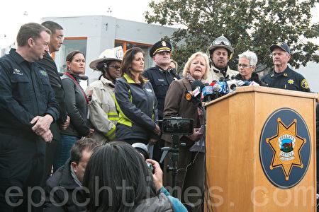 12月5日下午,奥克兰市所在的阿拉米达地检署宣布,将对12月3日凌晨的奥克兰仓库大火废墟变发起犯罪调查,令火灾现场变成犯罪现场。图为现场。(马有志/大纪元)