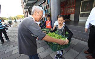 自助助人体现社会温暖,高市社会局辅导街友种菜,并送给儿少中心,替孩子们加菜。(高市社会局提供)