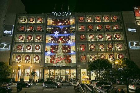 旧金山梅西百货店的2016年圣诞灯饰。(曹景哲/大纪元)