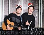 馬來西亞雙人男子團體FS 12月20日在台北出席公益單曲發布記者會。(陳柏州/大紀元)