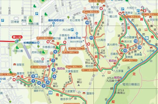 跨年即将到来,台北市工务局24日说,民众最期待的台北101大楼烟火秀,人潮必定挤爆信义区,推荐18处登高赏烟火地点,不用人挤人还可欣赏美丽烟火,图为信义区(14处)看烟火建议地点。(大地处提供)