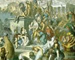 Heinrich Leutemann彩色版畫,描繪455年蓋薩里克率領的汪達爾阿蘭軍隊洗劫羅馬。(維基百科公有領域)