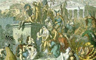 Heinrich Leutemann彩色版画,描绘455年盖萨里克率领的汪达尔阿兰军队洗劫罗马。(维基百科公有领域)