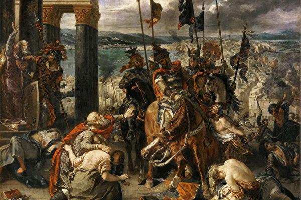 拉克洛瓦作品《十字军进入君士坦丁堡》(维基百科公有领域)