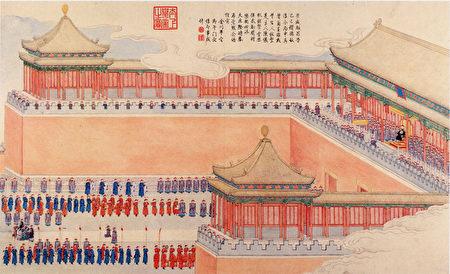 十八世紀中繪畫的清朝「午門」(公有領域)