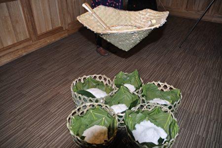 「Cinaw裝鹽巴的籃子」是海岸部落老人自編的籐籃,用來放置鹽的工具。(詹亦菱/大紀元)