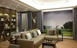 總太「美樂地」樣品屋,客廳加上書房,書房可隔成房間,目前客戶尚可視意願進行客變。(謝平平/大紀元)