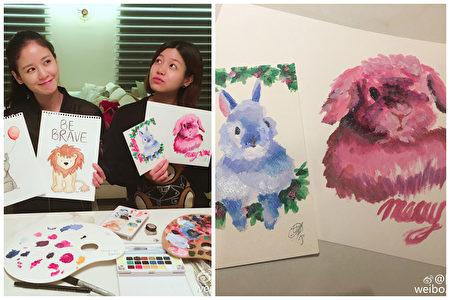 24日,陈妍希晒出彩绘兔子画作,祝福圣诞。(微博图片/大纪元合成)