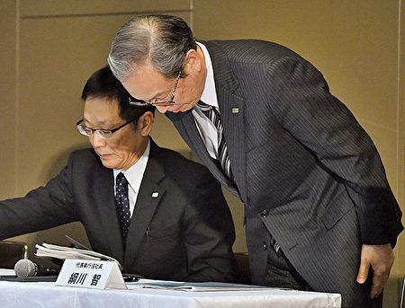 圖為東芝公司社長網川智在12月27日新聞發佈會上。 (KAZUHIRO NOGI/AFP/Getty Images)