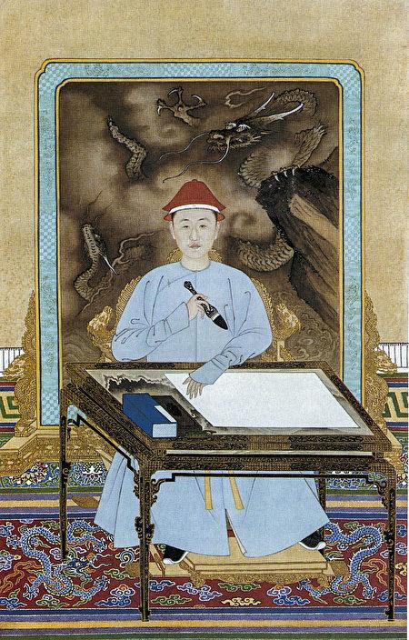 《康熙帝便裝寫字像》,清代宮廷畫家繪,北京故宮博物院藏。(公有領域)