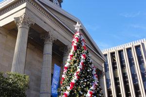 位於費城西郊的歷史性地標建築West Chester法院大樓外的聖誕樹。West Chester法院大樓由參與設計建造美國首都華盛頓的著名建築設計師Thomas U. Walter於1840年設計建築。(司瑞/大紀元)